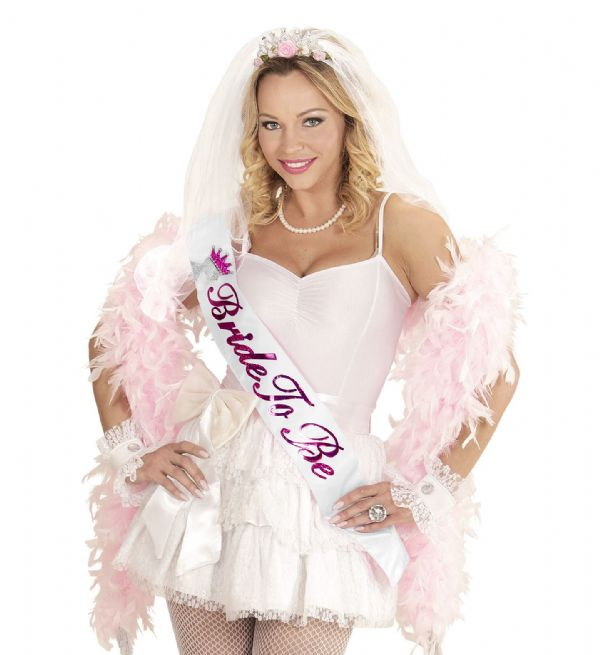 GLITTER BRIDE TO BE DOUBLE LAYER SATIN SASH w/ CROWNED HEAD Hen Fancy Dress